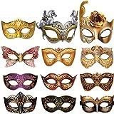 12 Pieces Mardi Gras Masquerade Mask, Paper Masks Set for Carnival Prom Venetian Masks Half Retro Masquerade Mask Mardi…