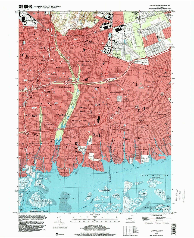 Amityville New York Map.Amazon Com Yellowmaps Amityville Ny Topo Map 1 24000 Scale 7 5 X