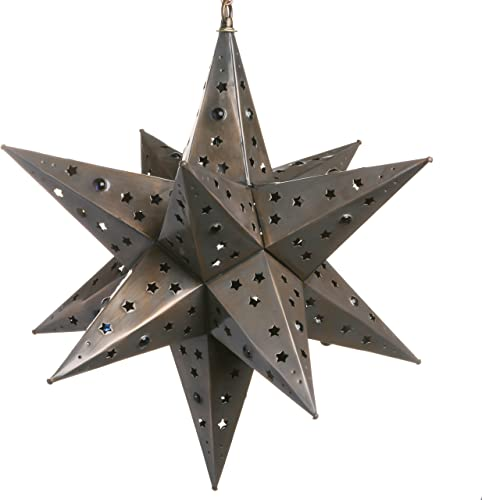 18 Inch Moravian Hanging Tin Star Light – Star Cut with Marbles