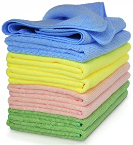 VibraWipe Microfiber Cleaning Cloths, 4 Colors, 8-Pieces. HIGH ABSORBENT, LINT-FREE, STREAK-FREE