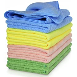 VibraWipe Microfiber Cleaning Cloths 4 Colors 8-Pieces. Highly Absorbent Lint and Streak Free