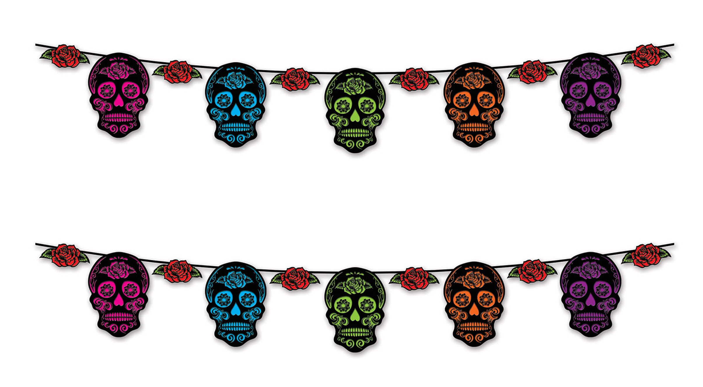Beistle 00357, 2 Piece Day of the Dead Sugar Skull Streamers, 9'' x 12'