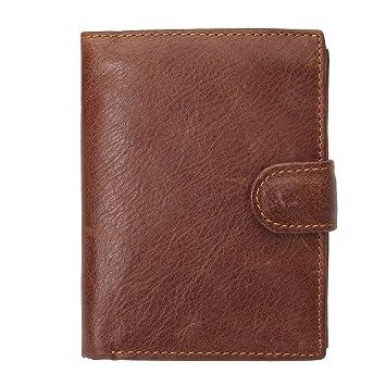 Charminer Portefeuille Hommes en Cuir Bourse de Peau Multi Rangement Style  Vintage Rétro Marron 950b6fc76d8