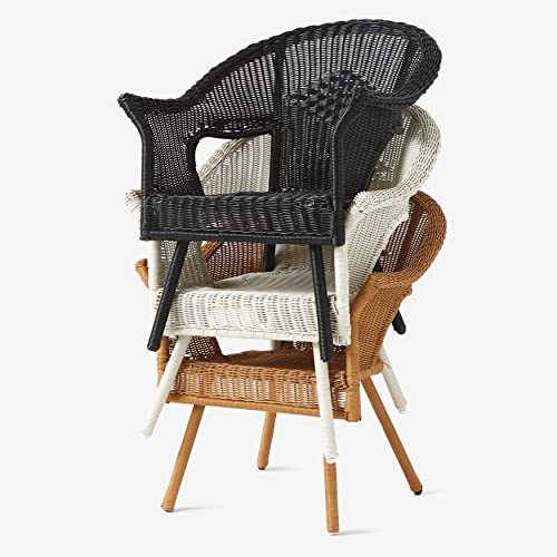 BrylaneHome Roma All-Weather Wicker Stacking Chair w/Free seat Back Cushion