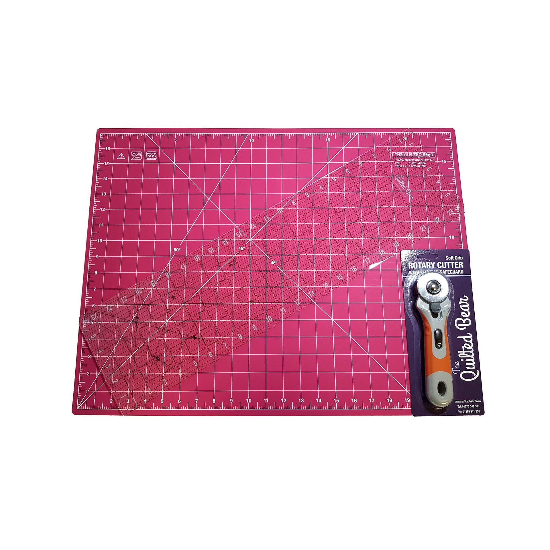 Quilted Bear 17'' x 23'' Double Sided Self-Healing Cutting Mat + 24'' Quilting Ruler + 45mm Rotary Cutter Quilter's Bundle - Various Colour Cutting Mats (Pink)