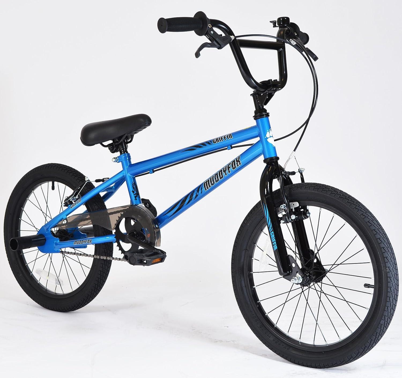Muddyfox Griffin 18 BMX Bike with Stunt Pegs in Blue and Black - Boys Brand New Model - Muddyfox Exclusive Unique Range MO41559