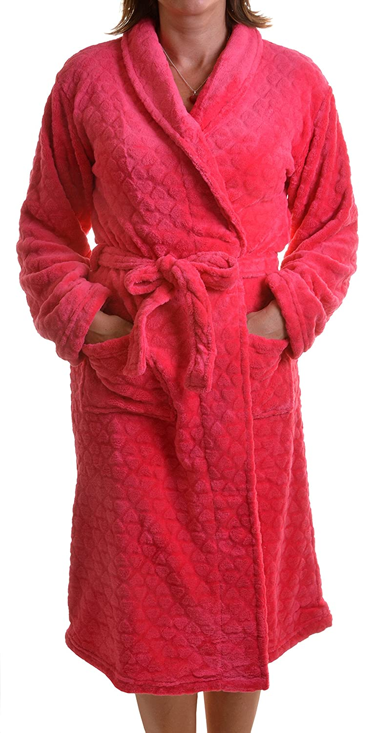 Dannii Matthews Nightwear Ladies Knee Length Snuggly Polar Fleece Wrapover Robe with All Over 3D Heart Pattern, Red or Turquoise 6850
