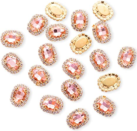 LIGHT PINK /& Clear sew on Jewel 18 mm Gem Crystal Rhinestone Trim Bead