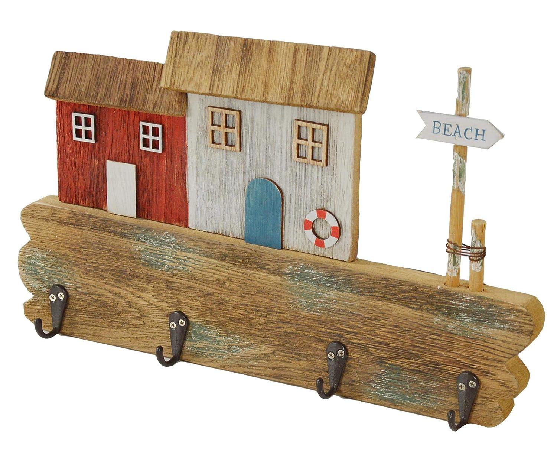 Perchero de madera marinera, casita, 4 ganchos: Amazon.es ...