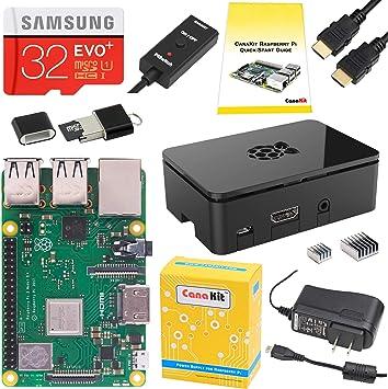 CanaKit Raspberry Pi 3 B+ 32 GB EVO+ Edition, Premium Black Case Starter Kit B Plus