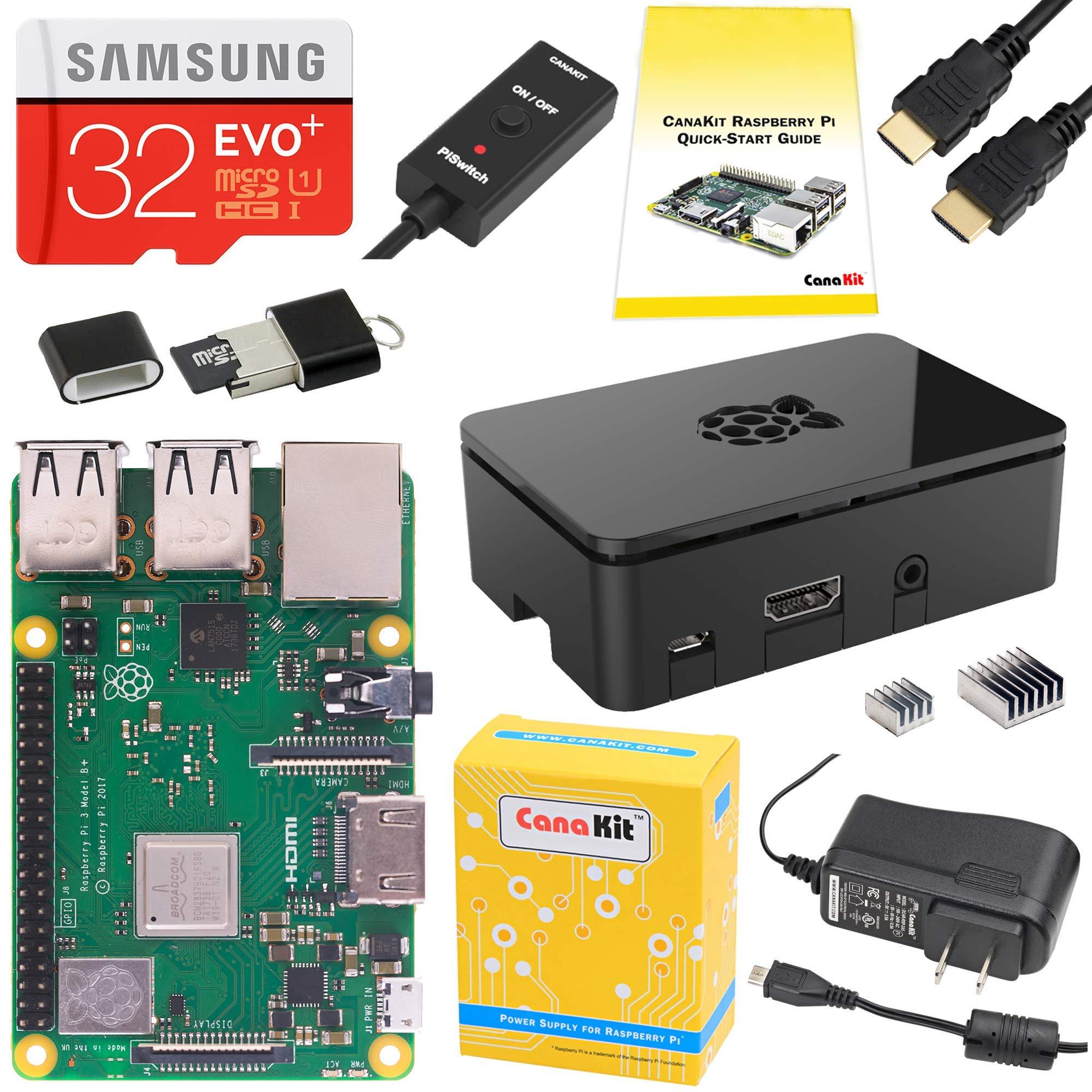 CanaKit Raspberry Pi 3 B+ (B Plus) Starter Kit (32 GB EVO+ Edition, Premium Black Case) by CanaKit
