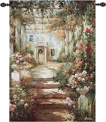 Manual Weavers Summer Garden Pergola Cotton Tapestry Wall Art Hanging 47 x 35