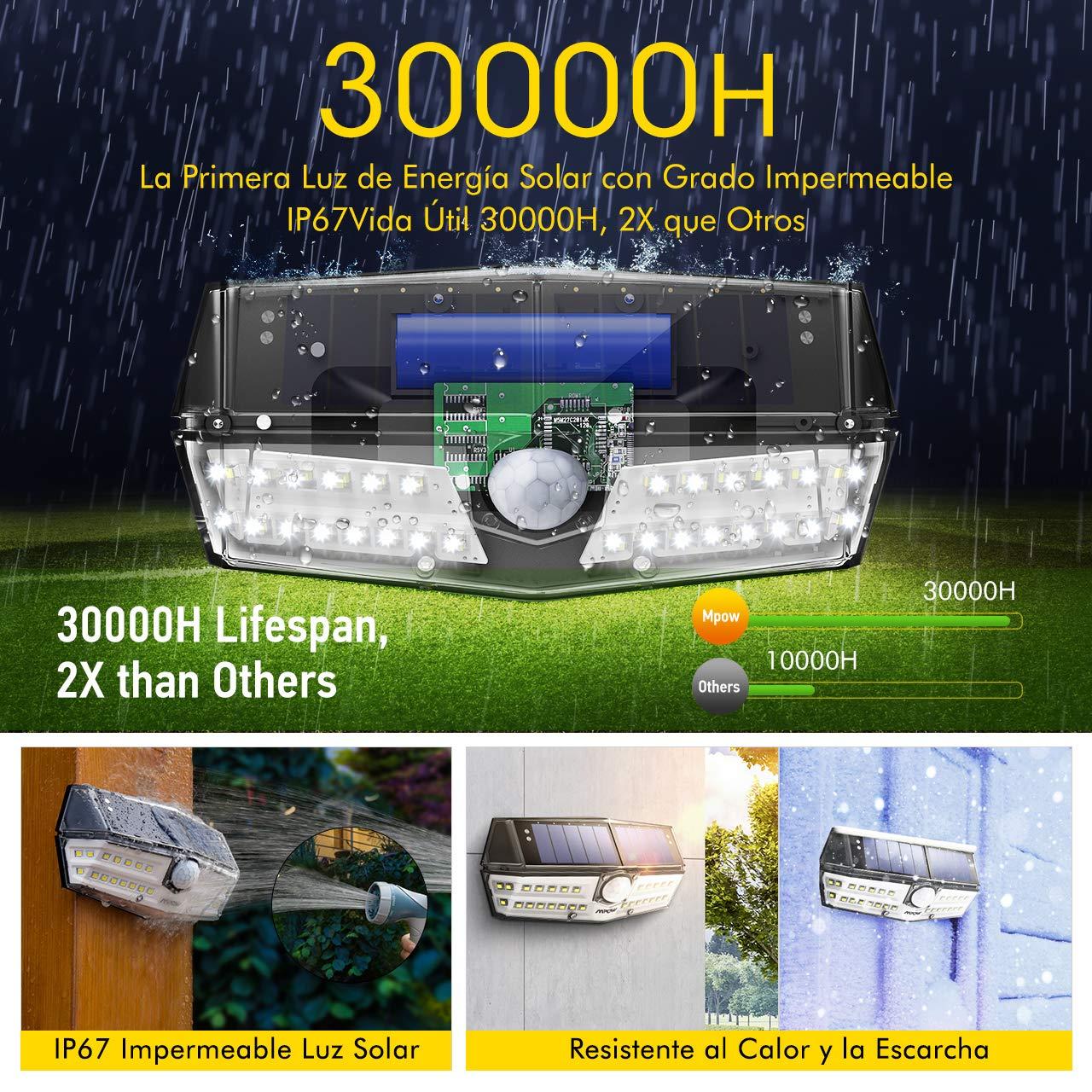 Mpow Premium 30 LED Luz Solar IP66 Impermeable, Iluminación de 270º, Sensor de Movimiento de 120°, Lámpara Solar de Pared Brillante para Jardín, Entrada, ...