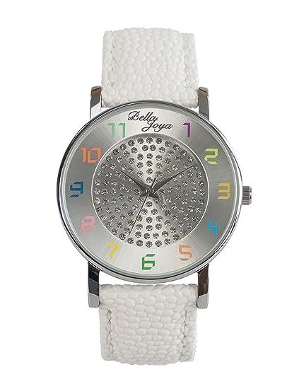 """Bella joya Mujer Reloj """"Elba, correa de piel auténtica Color Blanco"""