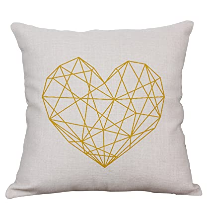 Geometric Decorative Throw Pillow Covers Cotton Linen Square Cushion Covers Outdoor Couch Sofa Home Pillow Covers 16x16 Inch