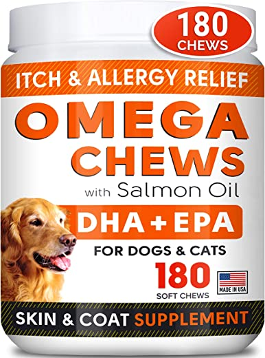 Fish Oil Omega 3 Treats for Dogs -180 Chews- Allergy...