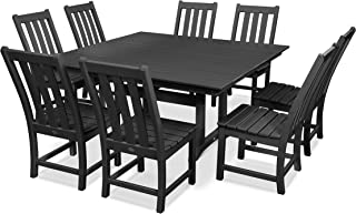 product image for POLYWOOD Vineyard 9-Piece Farmhouse Dining Set (Black)