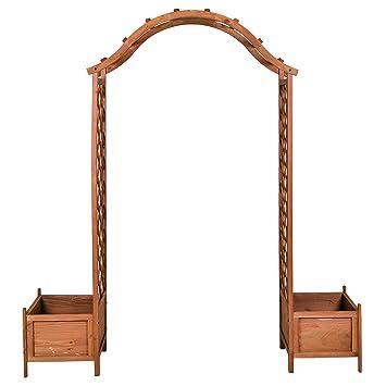 SONLEX Rosenbogen aus Holz mit 2 Pflanzkübeln Torbogen Spalier ...