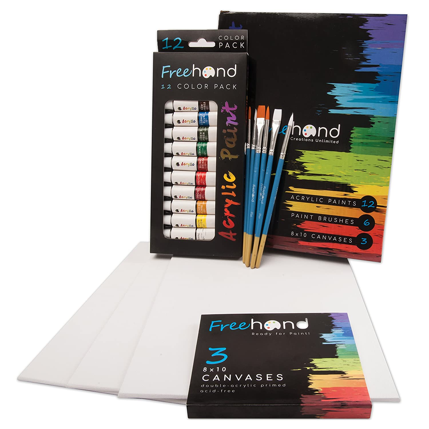 Acrylic Art Set - 12 Acrylic Paint Tubes - 6 Paint Brushes - 3 Painting Canvases - Art Supplies Free Hand