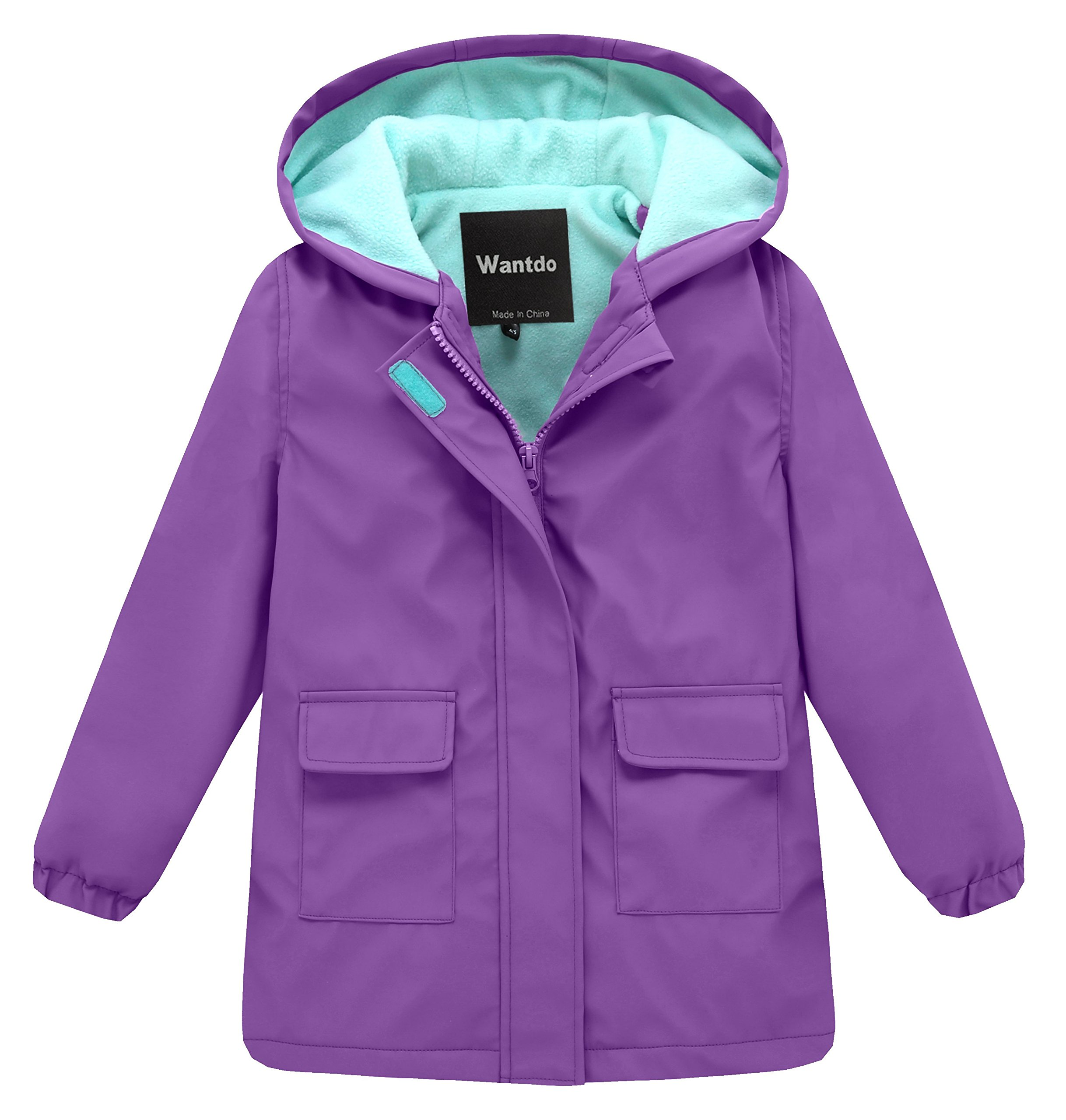 Wantdo Girl's and Boy's Hooded Rain Jacket Waterproof Fleece Lined Windbreaker(Purple, 7-8Y)