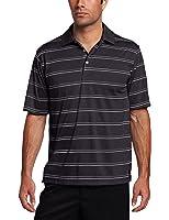 PGA TOUR Men's Short Sleeve Embossed Yarn Dye Striped Polo Shirt