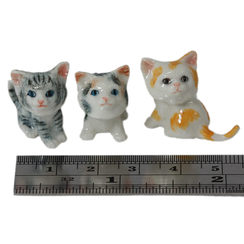 6 Cartoon Cats Kitten Handmade Ceramic Pottery Miniature Animal Figurine 0.5