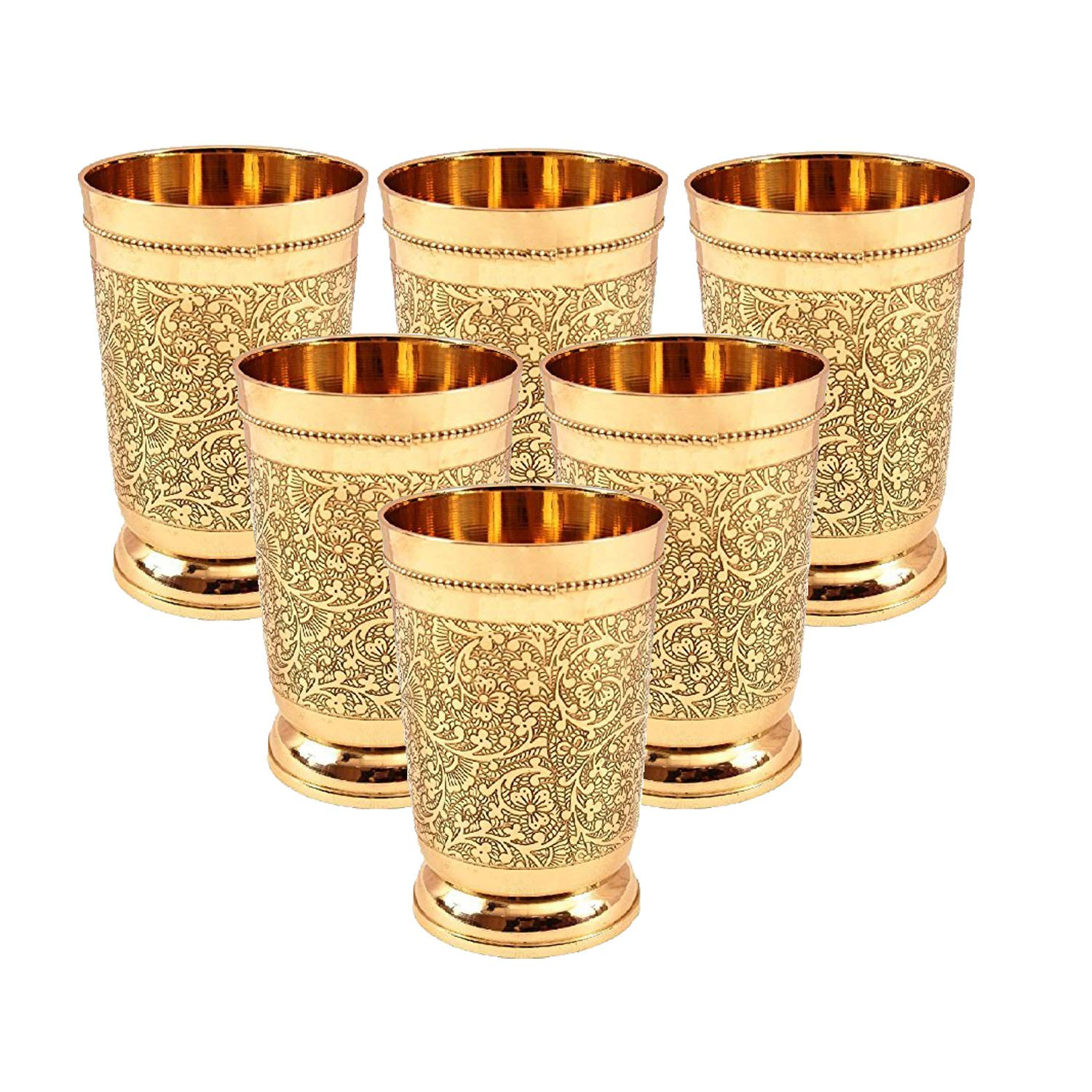 Set Of 6 Embossed Designer Brass Mint Julep Cup Goblet Tumbler Capacity 12 Ounce Each by PARIJAT HANDICRAFT