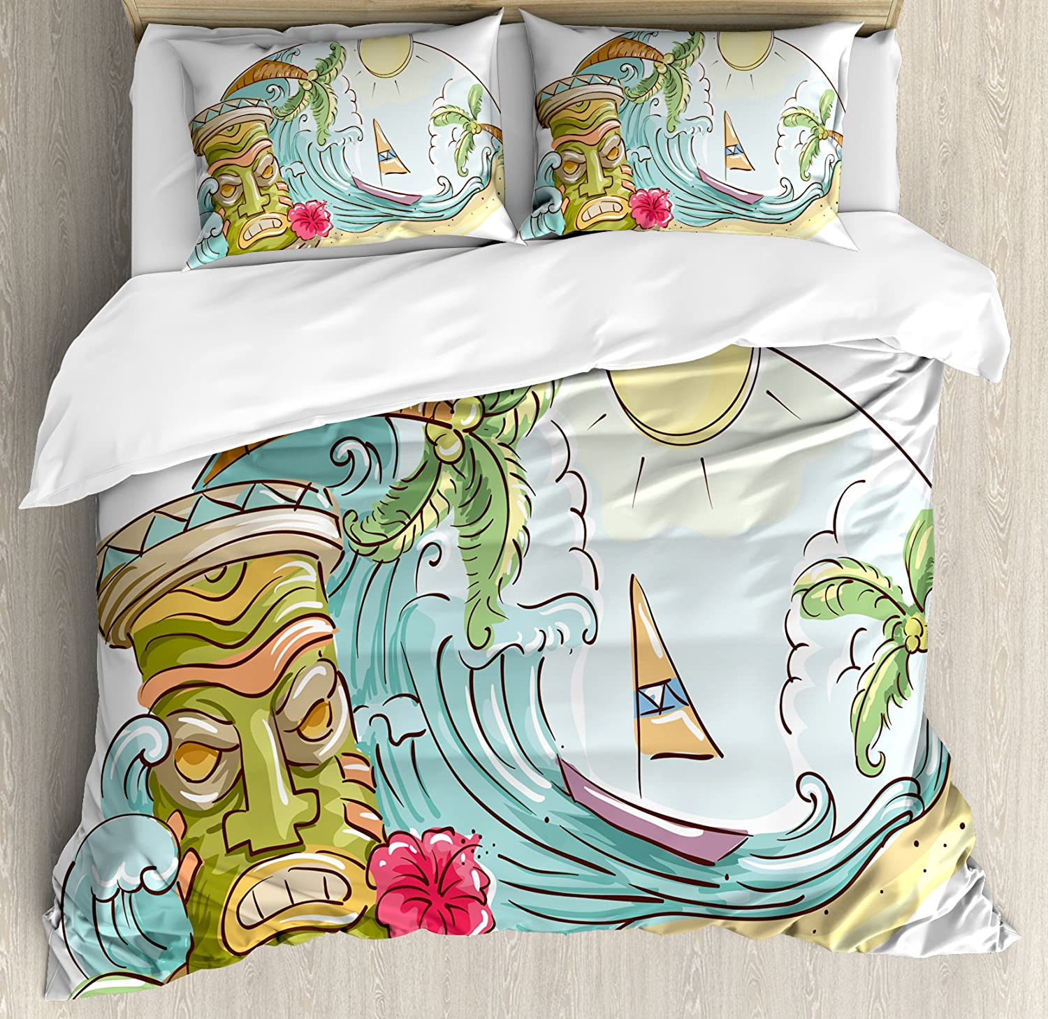 Ambesonne Tiki Bar Duvet Cover Set, Circular Frame with Tropical Accents Cartoon Beach Tiki Illustration Print, Decorative 3 Piece Bedding Set with 2 Pillow Shams, Queen Size, Pale Blue