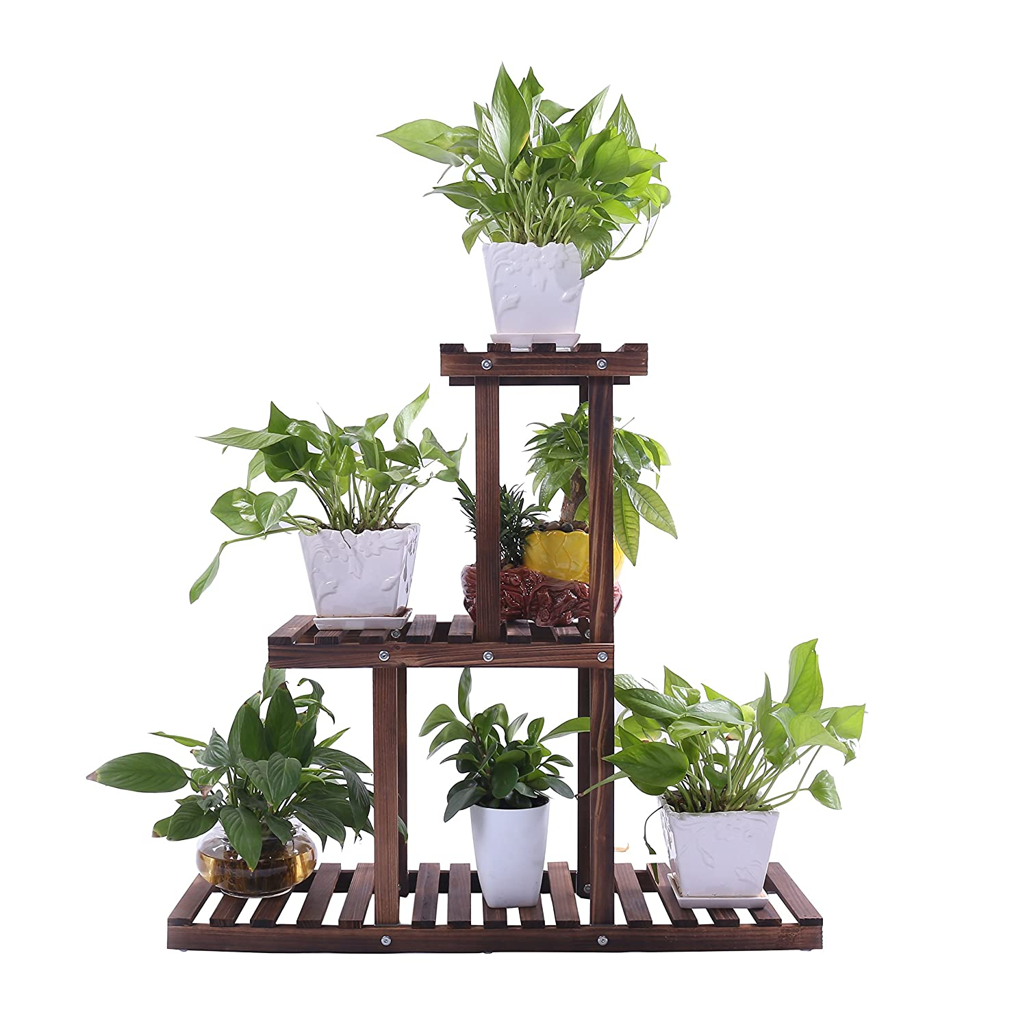 Ufine Wood Plant Stand Outdoor Indoor 3 Tier Vertical Carbonized Multiple Planter Holder Flower Ladder Stair Shelf Garden Balcony Patio Corner Pot Display Storage Rack (Space Saving,Light Weight)