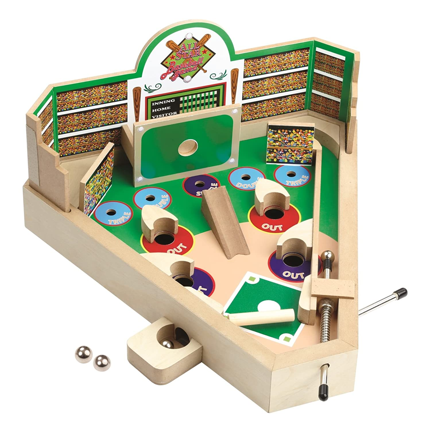 Classic Retro Wooden Baseball Pinball Game – Baseball Pinball Tabletop Flipper Toy Imperial Home
