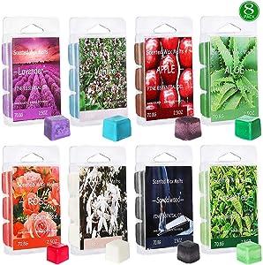 YIH Set of 8 Assorted Wax Cubes/Melts/Tarts - 2.5 oz Each Apple, Aloe, Green Tea, Sandalwood, Rose, Vanilla, Jasmine, Lavender Ideal Gift