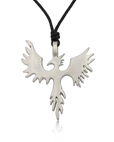 amazon com phoenix bird silver pewter charm necklace pendant