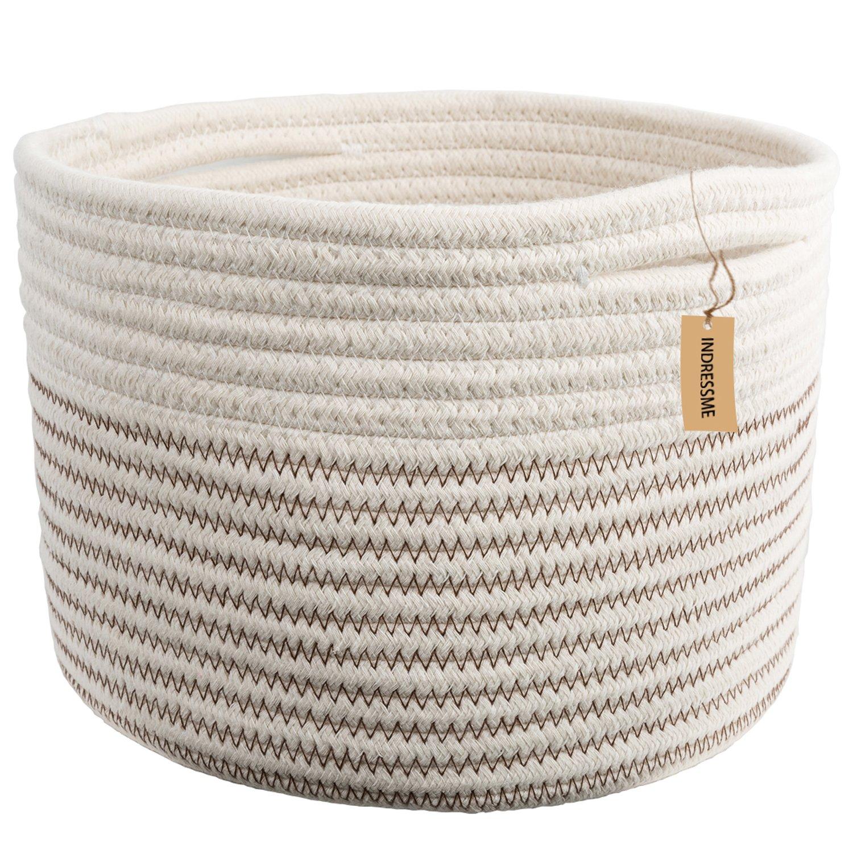 INDRESSME Small Storage Basket - Cute Cotton Rope Basket - Closet Storage Bins - Desk Basket Organizer - Baby Nursery Organizer for Toy Storage Bin- 9.4'' x 9.4'' x 7.1'' by INDRESSME