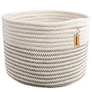 INDRESSME Small Storage Basket - Cute Cotton Rope Basket - Closet Storage Bins - Desk Basket Organizer - Baby Nursery Organizer for Toy Storage Bin- 9.4  x 9.4  x 7.1