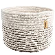 "INDRESSME Small Storage Basket - Cute Cotton Rope Basket - Closet Storage Bins - Desk Basket Organizer - Baby Nursery Organizer for Toy Storage Bin- 9.4"" x 9.4"" x 7.1"""