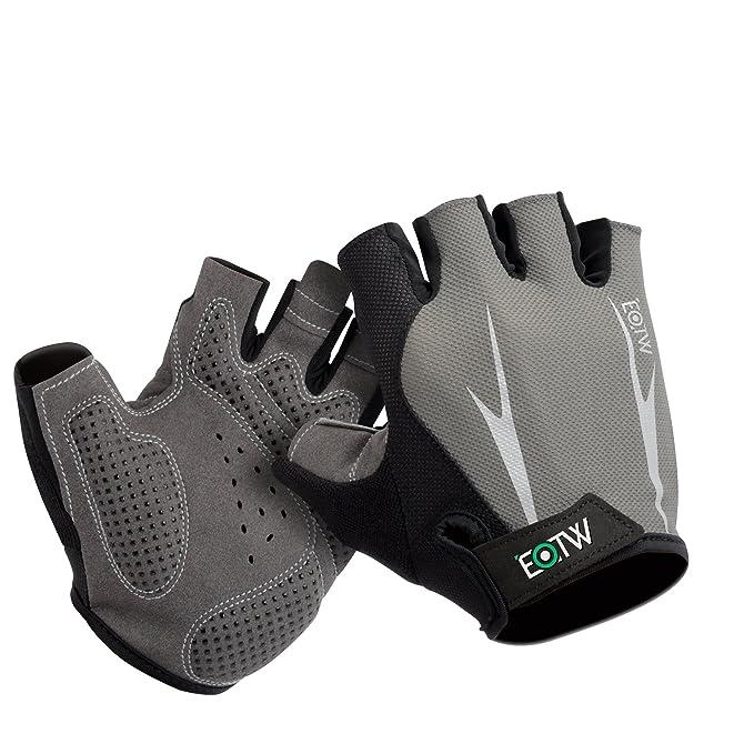 EOTW Guantes Unisex Sin Dedos, Antideslizantes, Transpirables. Ventilados con los Medios Dedos de Protección para Deportes,…