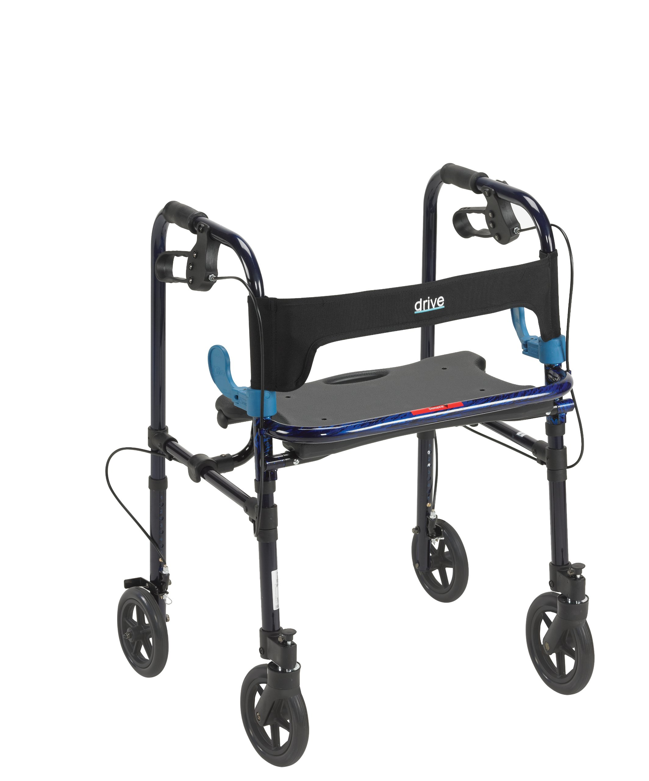 Drive Medical Deluxe Clever Lite Rollator Walker with 8'' Casters, Flame Blue, Adult