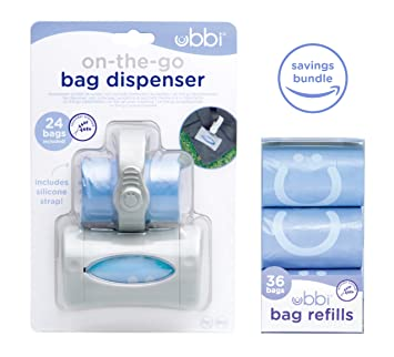 Ubbi On The Go Gray Bag Dispenser and Waste Disposal Bags Refill, Lavender Scented,