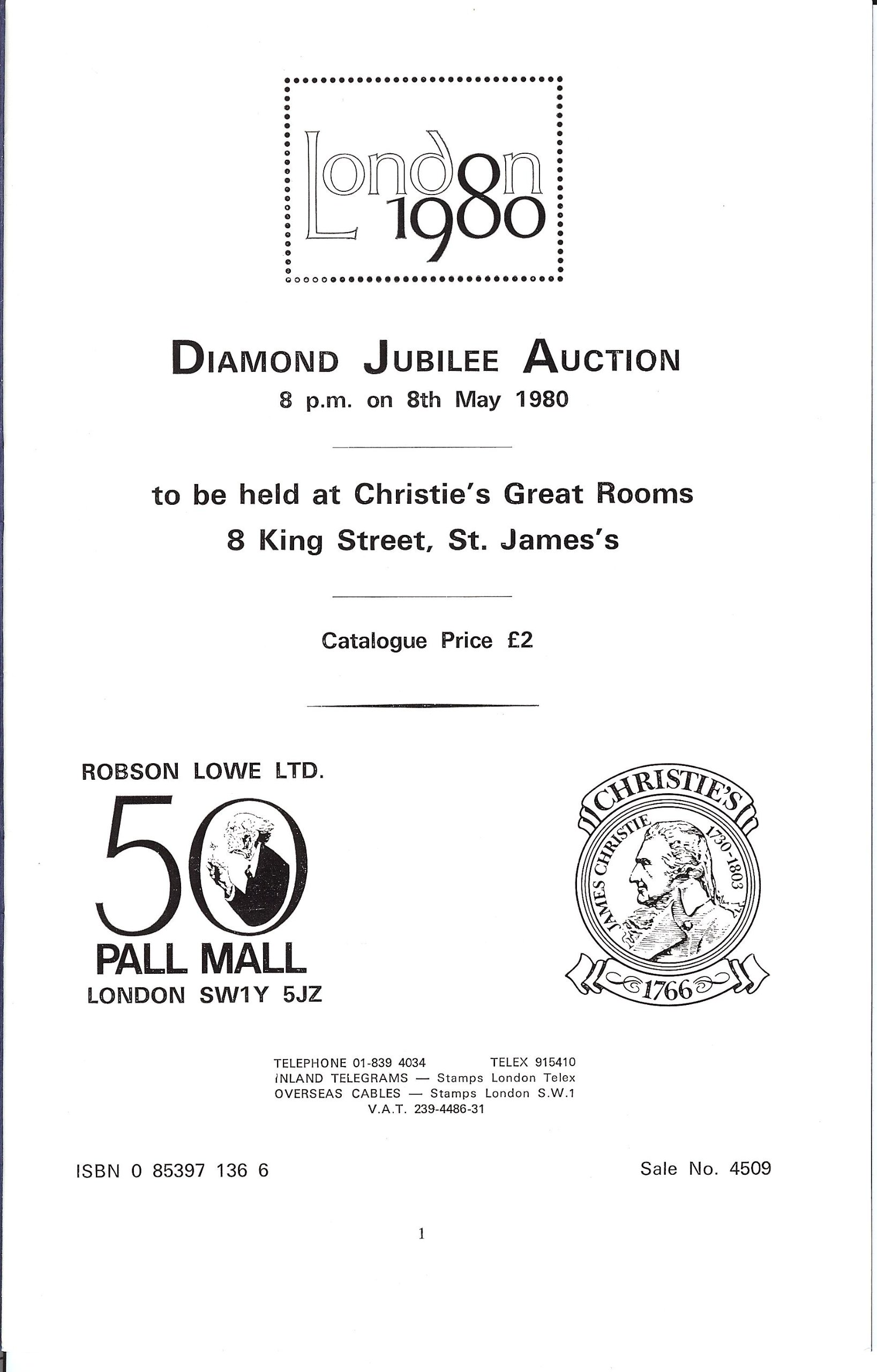 Diamond Jubilee Auction (stamp auction catalog) (Robson Lowe