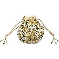 Hydes Indian Jaipuri Brocade Potli Clutch Drawstring Intricate Thread & Sequin