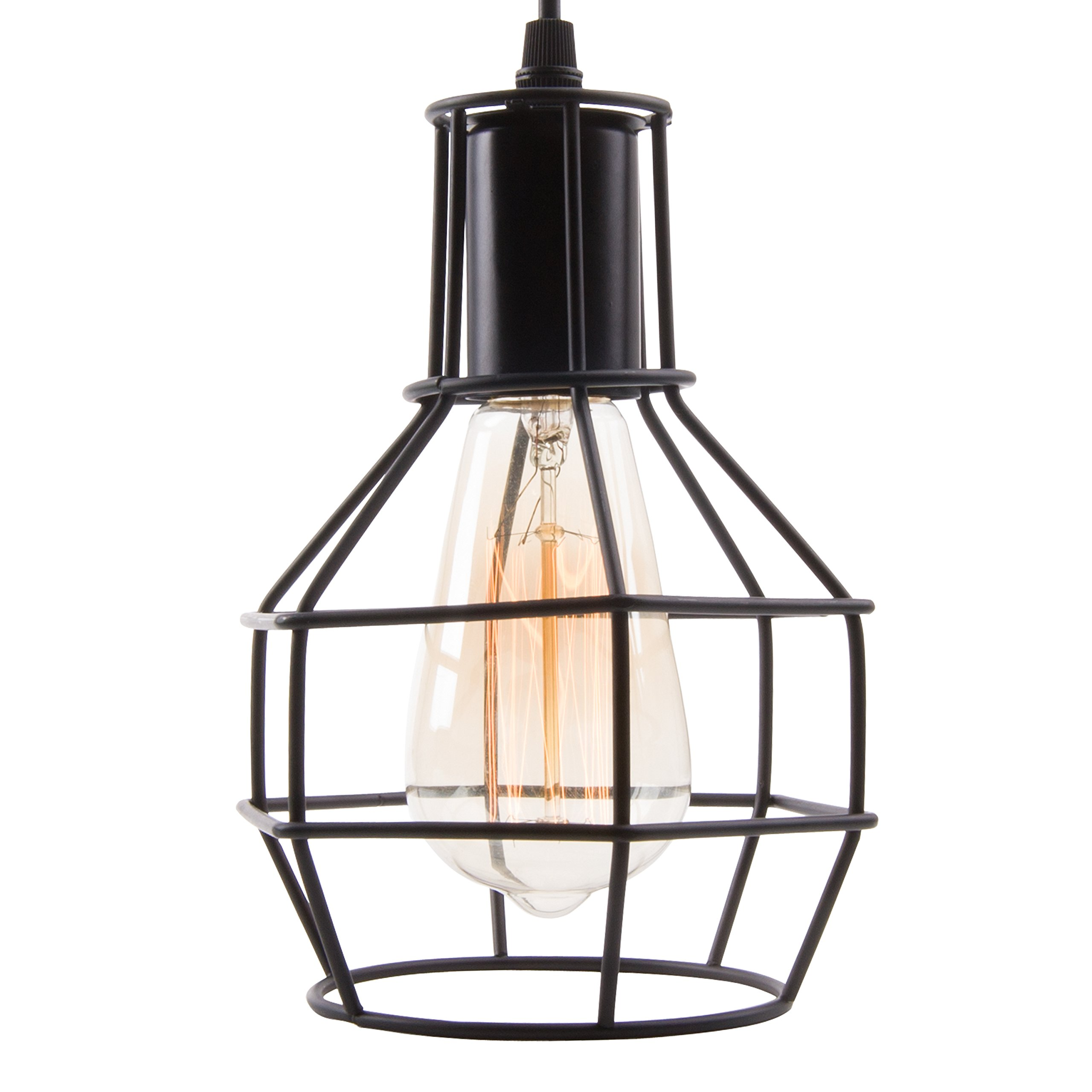 Veesee E26 Hanging Adjustable Industrial Lighting Fixtures,Vintage Ceiling Pendant Lamp Cage Holders,Edison Bulb Metal Chandelier Drop Light for Kitchen Island Restaurant Coffee(Black) by Veesee (Image #2)
