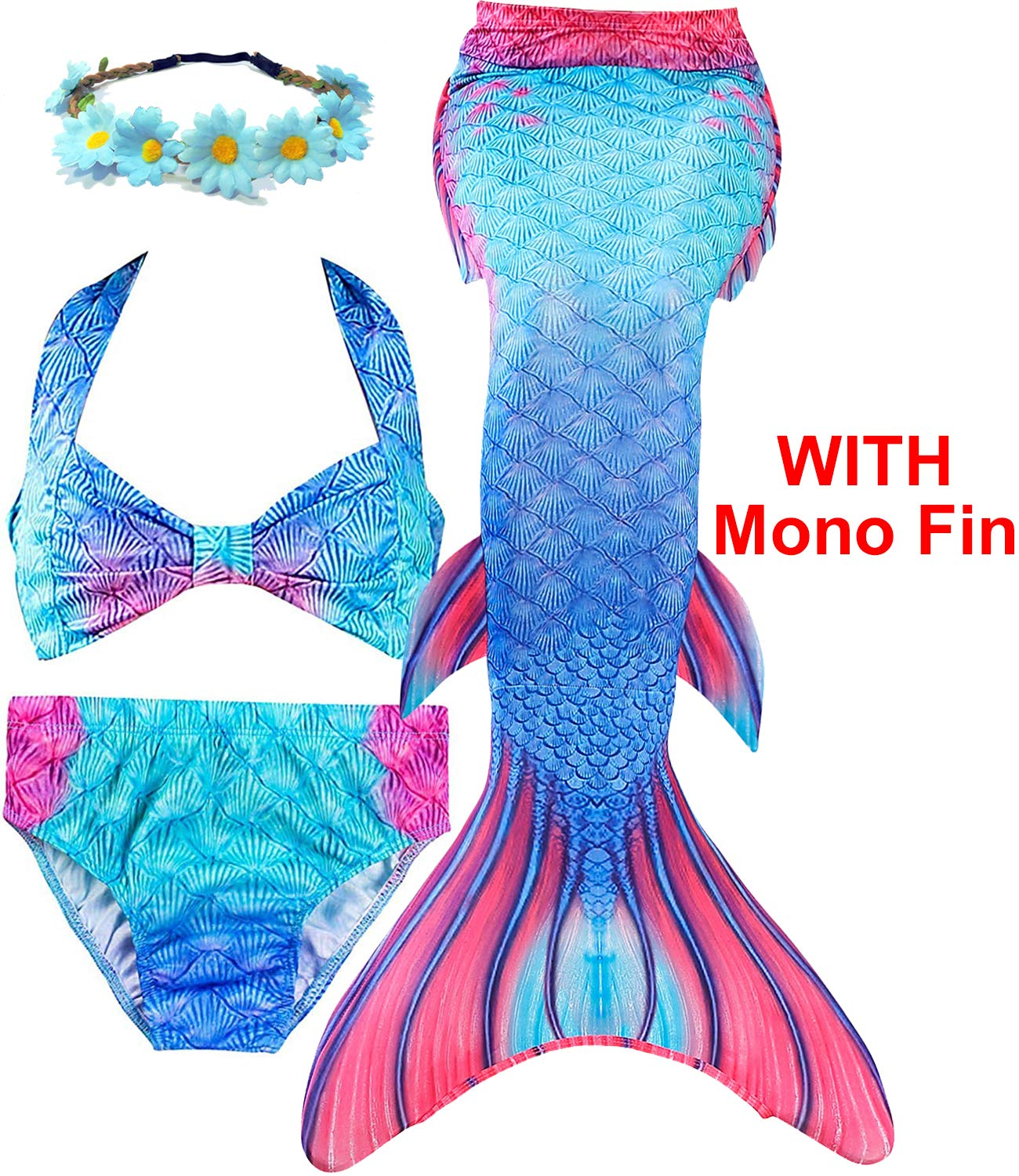 Garlagy 3 Pcs Girls Swimsuit Mermaid Tails for Swimming Bikini Set Bathing Suit Swimmable Can Add Monofin for 3-14Y (5-6/Ht:45-47in(tag 120), A- Blue Flame (with Monofin))