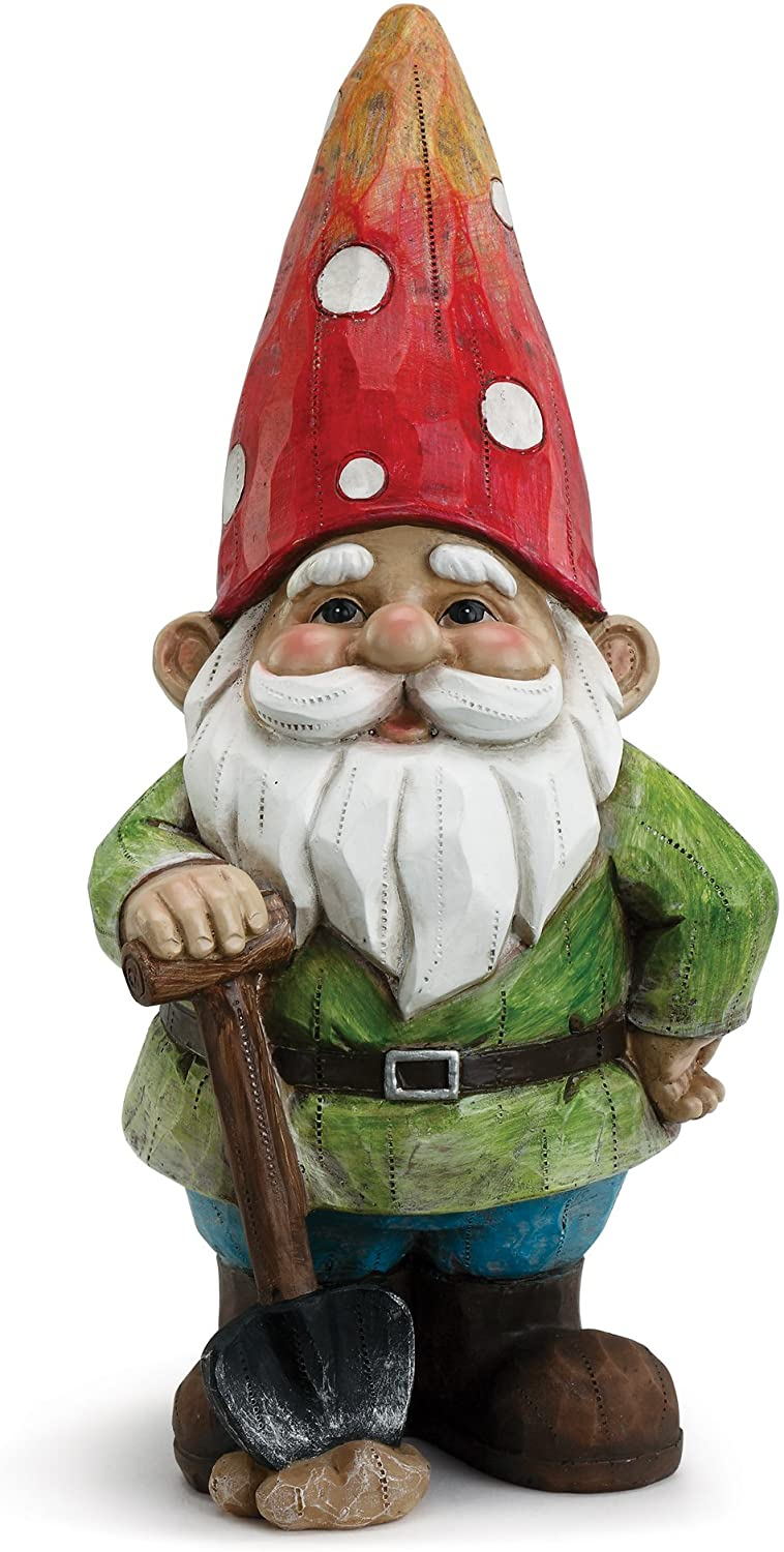 Happy Gnome With Shovel Bold Primaries 4 x 9 Resin Stone Garden Figurine