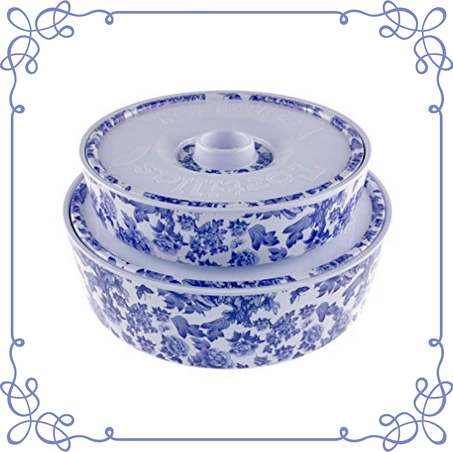 ARC, 6519F Tortilla Warmer, 100% Melamine(Not Porcelain), One large & One small combination, FDA Safe, Pancake Keeper Food Container, Keeping Waffles Tacos Warm (White with blue floral design)
