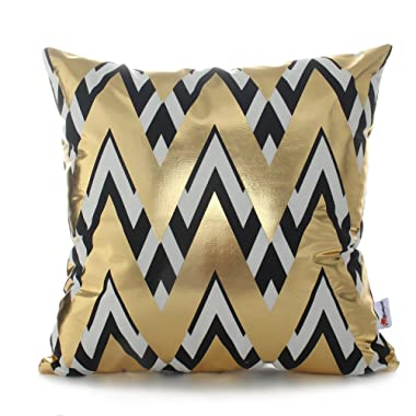 Monkeysell 2018 New Bronzing Black and Gold Pillows Cover Home Decorative Pillowcases Throw Pillow Cover Cushion Waist Lumbar Pillow Geometry Design 18 inches
