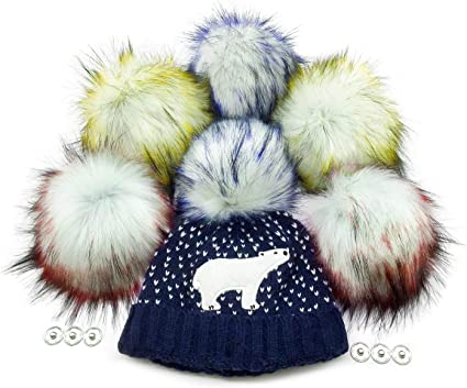 DIY Faux Fur Poms 6 Pcs Ball with Press Button Removable Fluffy Pompom for Knitting Hats Shoes Scarves Bag Accessories
