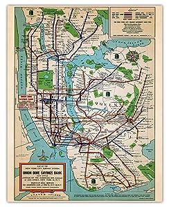 Vintage New York Subway Map Wall Art Print - (11x14) Photo Unframed Make Great Room Wall Decor Gift Idea Under $15