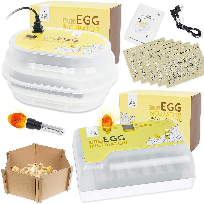 MINICHICK Incubadora digital totalmente automática de huevos gallina con volteo / diseñada en España. Control de temperatura y humedad. (CIRCULAR)