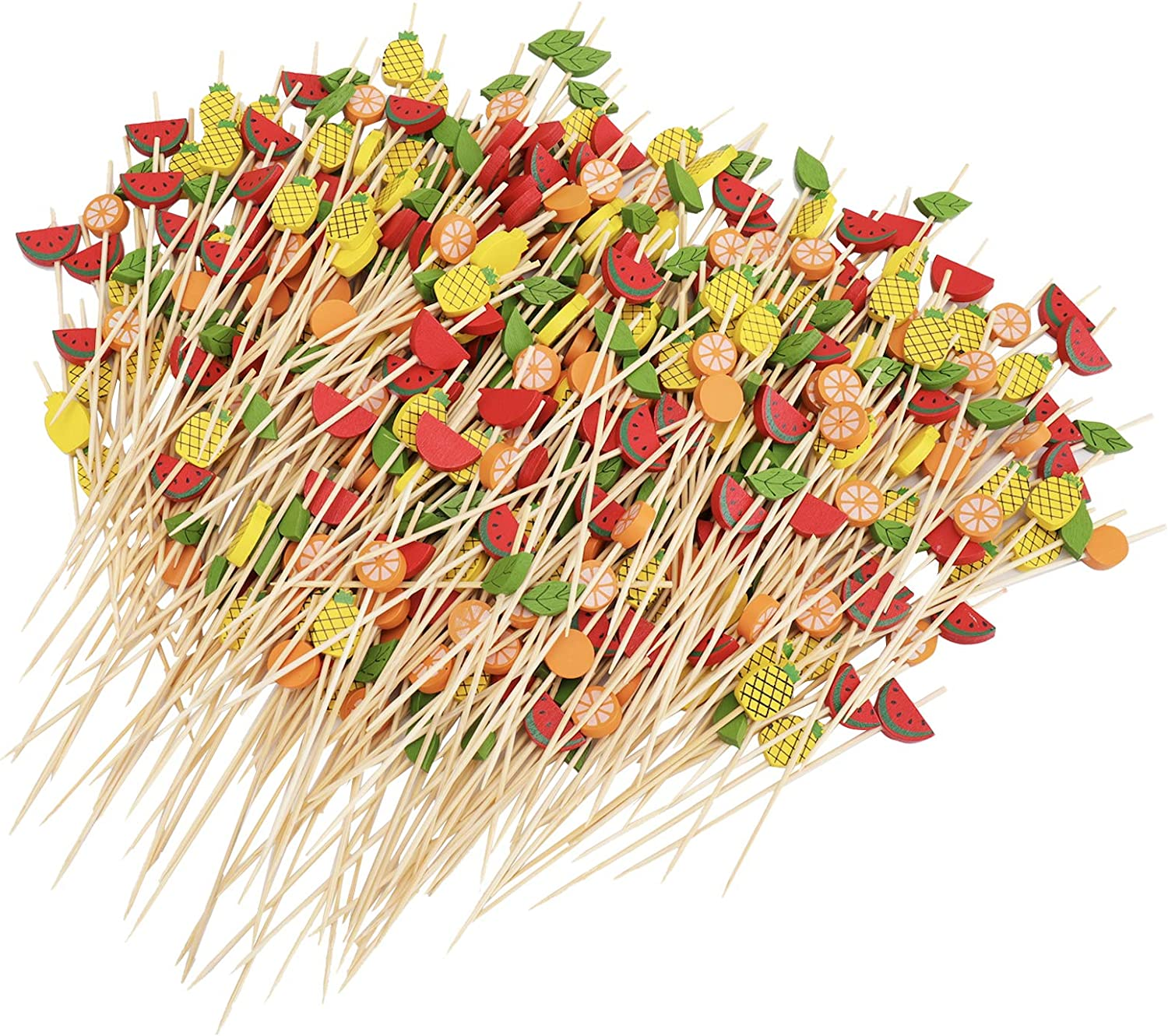 Suwimut 400 Counts Bamboo Sticks Cocktail Picks, 4.7 Inches Fruit Kabob Skewers Long Toothpicks Food Sticks for Cocktail, Appetizers, Fruits, Dessert, Party Decoration, Mix Colored