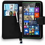 Nokia Lumia 535 Premium Leather Black Wallet Flip Case Cover Pouch + Big Touch Stylus Pen + Screen Protector & Polishing Cloth SVL2 BY SHUKAN®, (WALLET BLACK)